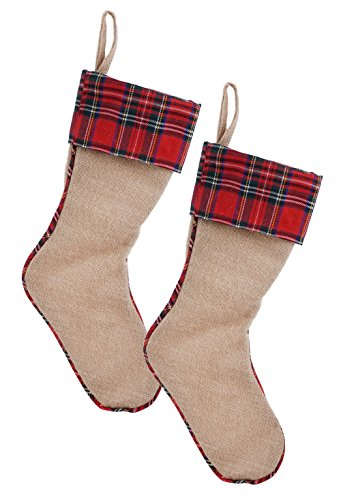 Tartan Plaid Burlap Christmas Stocking - 2 Pack