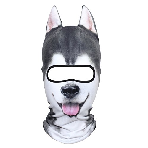 AXBXCX 3D Animal Face Mask Ears Fleece Thermal Neck Warmer Windproof Protection for Ski Snowboard Snowmobile Halloween Winter Cold Weather Husky MDD-09