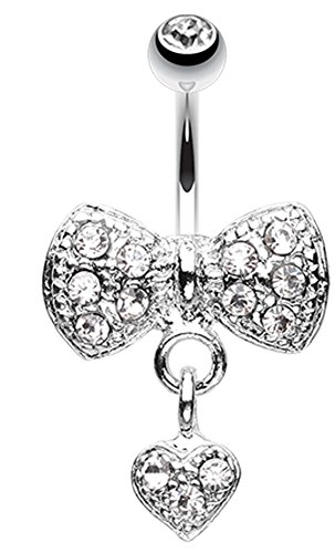 Dangle Heart Bow-Tie Belly Button Ring - 14 GA (1.6mm) - Clear - Sold Individually