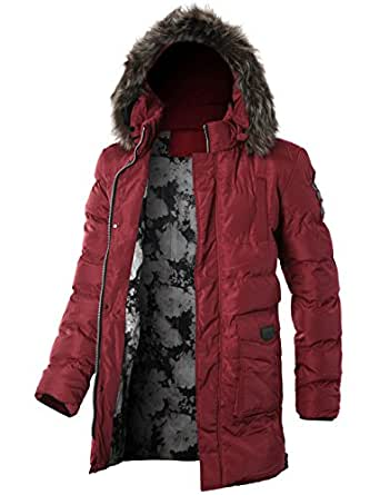 GIVON Mens Slim Fit Light Weight Wellon Longline Puffer Jacket With Detachable Hoodie/DCJ009-RED-M