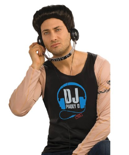 Jersey Shore Guido Costume (Jersey Shore Costume Accessory Pauly D Dj Headphones,Black/Silver,One Size)