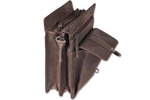 Woodland - bolsa de lujo de cuero de búfalo natural en Marrón oscuro / Taupe