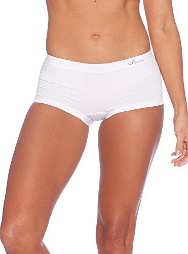 White Cotton Spandex Boyshorts (Boody Body EcoWear Women's Boyleg Briefs Seamless Boyshort Underwear Made From Natural Organic Bamboo Viscose - Soft Breathable Eco Fashion For Sensitive Skin - White, X-Large)