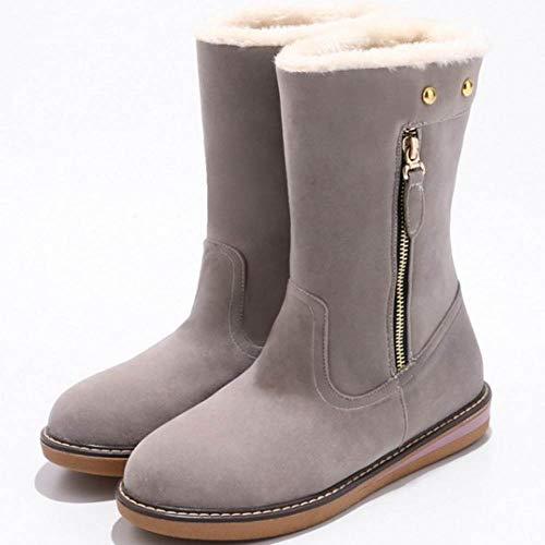 Hiver Boots Ankle Femmes Plates Confort Gris Coolcept 7xf4gEwq