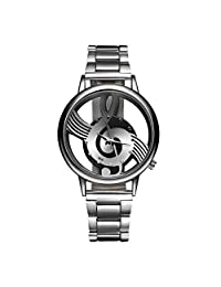 LONGQI WATCH Creative Music Note Notation Dial Watches with Stainless Steel Hollow Causal Wrist watch