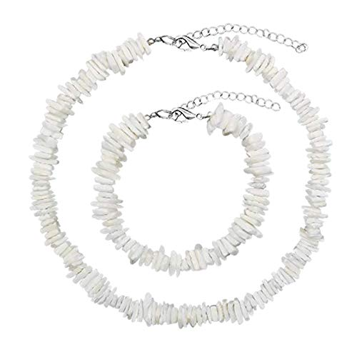 BITSEACOCO Hawaii Beach Shell Necklace for Women, Handmade Natural Seashell Necklace Jewelry Set, Surfer Necklace Puka Shell Choker Necklace for Girls (White-Square, 16)