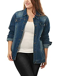 Allegra K Women Plus Size Stitching Button Front Washed Denim Jacket