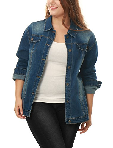 Agnes Orinda Women's Plus Size Stitching Button Front Washed Denim Jacket Blue 2X Button Denim Jacket