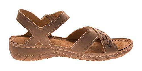WoMen Sandals Toe Open Brown Scandi 6Uq1vU