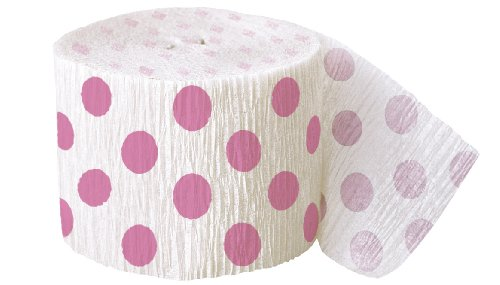 Polka Dot Crepe Paper Streamers, 30 Feet, Hot Pink (Streamers Unique compare prices)