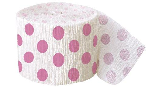 30ft Hot Pink Polka Dot Crepe Paper Streamers