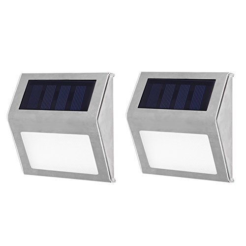 Solar Deck Lights, Awakingdemi 3 LED Solar Powered Step Lights Stainless Steel Outdoor Courtyard Pathway Lighting for Steps Paths Patio Stair, Waterproof LED lamp, 2 Pack