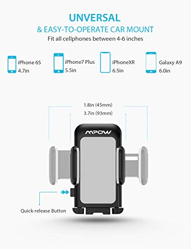 Mpow 033AH Cell Phone Holder for Car, Windshield Long Arm Car Phone Mount with One Button Design and Anti-Skid Base Car Holder Compatible iPhone XS MAX/XS/XR/X/8/7/7P/6s, Galaxy S6/S7/S8,Google,Huawei by Mpow (Image #3)