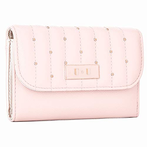 (Women Trifold Leather Cute Wallet - U+U RFID Blocking Designer Quilted Rivet Purse Clutch Credit Card Holder Pink)