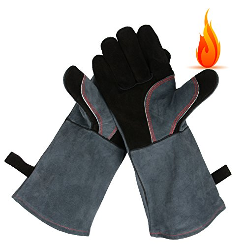 OZERO Leather Oven Grill BBQ Gloves, Extreme Heat Resistant Cooking Baking Barbecue Grilling Glove/Mitts - 16 inches Long Sleeve - Food Grade and Flexible for Men & Women, Gray-Black