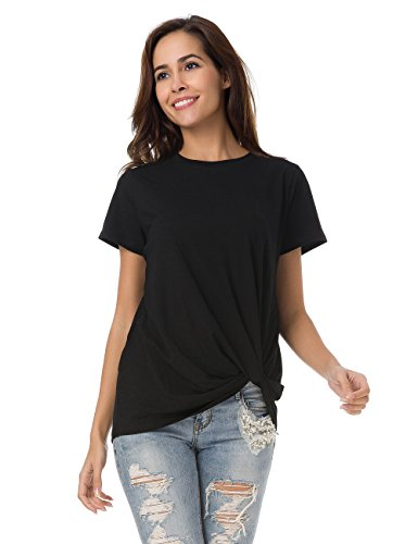 MOQUEEN Womens Short Sleeve Loose Twist Knot Front T Shirts Cotton Casual Blouse, Black XL Black Knot