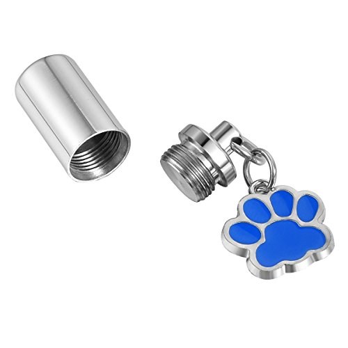 Valyria Memorial Jewelry Pet Paw Keychain Urn Ashes Keepsake Pendant,Royal Blue