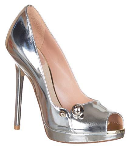 Dior Christian Women's Silver Metallic Leather Charms Peep Toe Pumps Heels Shoes, Silver, US 5 / EU 35