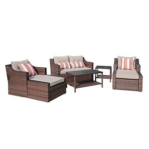 SUNSITT 7-Piece Outdoor Furniture Set Lounge Chairs with Ottoman & Loveseat, Brown Rattan Wicker Sofa Set with Beige Cushions & Coffee Table