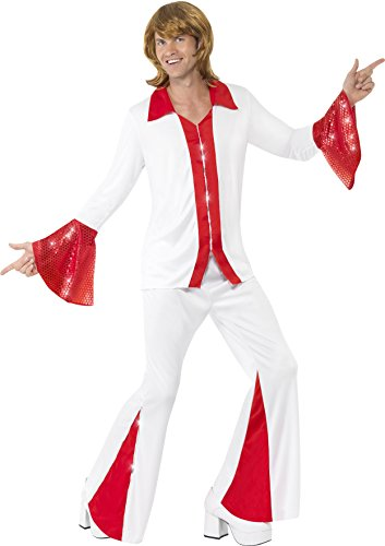 Disco Costumes Male (Smiffy's Men's Super Trooper Costume, Shirt and pants, 70 Disco, Serious Fun, Size L, 33496)