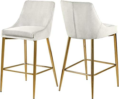 Meridian Furniture Karina Collection Modern | Contemporary Velvet Upholstered Counter Stool with Polished Gold Metal Legs and Foot Rest, Set of two, Cream