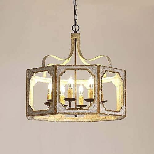 Lovedima 8-Light Lantern Pendant Lighting Square Wood Metal Chandeliers Hanging Light Ceiling Light Fixtures
