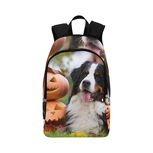 JXCSGBD Bernese Mountain Dog Halloween Pumpkins Dog Stock Photo Casual Daypack Travel Bag College School Backpack for Mens and -