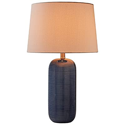 "Stone & Beam Leland Modern Textured Ceramic Bedroom Table Desk Lamp With LED Light Bulb - 15 x 24.5 Inches, Blue - This lamp's beautiful blue ceramic base will give your room a modern look and pop of vibrant color.  Subtle horizontal lines add a pleasing texture, and a white linen shade adds a classic touch, for an overall look that blends with most any décor. 15"" Diameter x 24.5""H Ceramic base, linen shade, metal hardware - lamps, bedroom-decor, bedroom - 411dwYFpnNL. SS400  -"