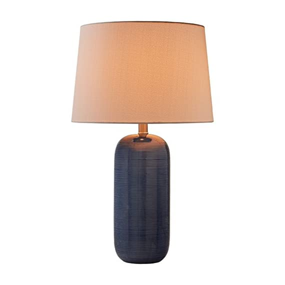 """Stone & Beam Leland Modern Textured Ceramic Bedroom Table Desk Lamp With LED Light Bulb - 15 x 24.5 Inches, Blue - This lamp's beautiful blue ceramic base will give your room a modern look and pop of vibrant color.  Subtle horizontal lines add a pleasing texture, and a white linen shade adds a classic touch, for an overall look that blends with most any décor. 15"""" Diameter x 24.5""""H Ceramic base, linen shade, metal hardware - lamps, bedroom-decor, bedroom - 411dwYFpnNL. SS570  -"""