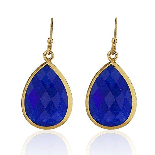 18K Gold-Plated Rims Pear Shape Blue Synthetic Lapis Gemstone Dangle Earrings