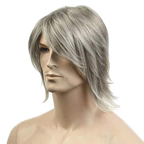 - Rocker Men Short Wavy None Lace Front Wig Looking Loose Wave Bob Wigs Heat Resistant Fiber Synthetic Plucked Hairline (a)