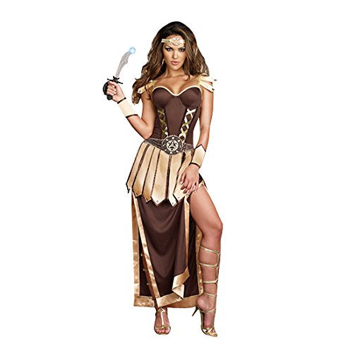 Dreamgirl Women's Remember The Trojans Dress, Brown/Gold,