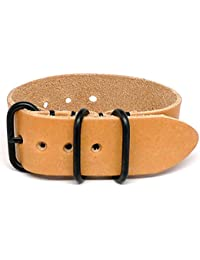 DaLuca 1 Piece Military Watch Strap - Natural Essex (PVD Buckle) : 20mm