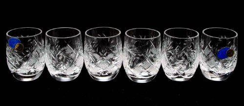"SET of 6 Russian CUT Crystal Shot Glasses ""Barrel"" 50ml Hand"