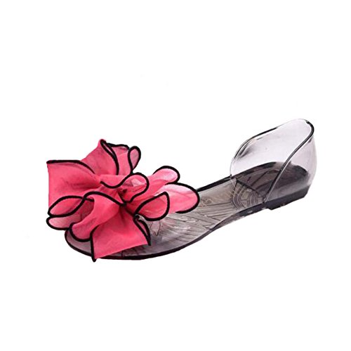 ANDAY Women Bohemian Flower Decoration Peep Toe Summer Beach Clear Jelly Sandals Flats Red