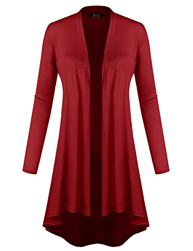 BH B.I.L.Y USA Women's Open Front Lightweight Jersey Classic Long Sleeve Cardigan Burgundy XX-Large