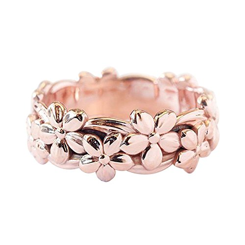 Haluoo 925 Sterling Silver Ring, Retro Daisy Summer Flower Engagement Ring Plum Blossom Eternity Wedding Band Finger Rings Size 5-10 (8, Rose Gold)