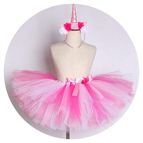 Girls Pink Flower Girls Tulle Skirt Princess Girl Costume,Skirt and Headband,13