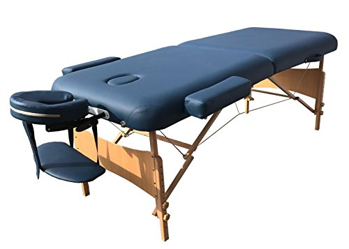 Angel USA Deluxe Extra Wide 30''W Professional Portable Massage Table with 3'' Thick Cushion & Carry Case, Great For Facial SPA Bed Tattoo Home Therapist (BLUE) by ANGEL USA