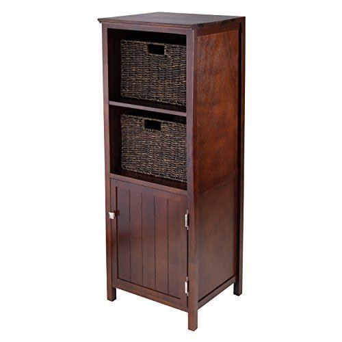 Luxury Home Brooke Tan Wood Jelly Cupboard With 2 Baskets