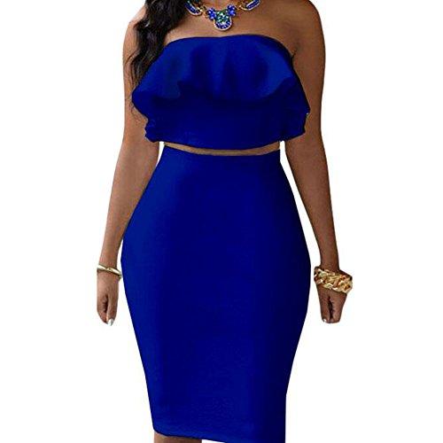 Two Piece Skirt (Kalin Women's Ruffle Crop Top Maxi Skirt Set 2 Piece Outfit Bandage Nightclub Dress (M, Blue))