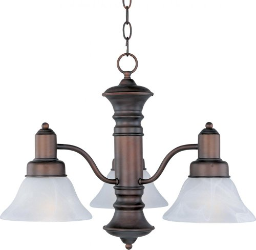 Maxim Lighting 20326MROI Three Light Marble Glass Down Chandelier, Oil Rubbed Bronze