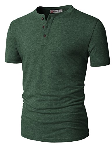 H2H Men's Casual Linen and Cotton V Neck Long Sleeve Henley T-Shirts DarkGreen US 2XL/Asia 3XL (CMTTS0203) (Heathered Linen)