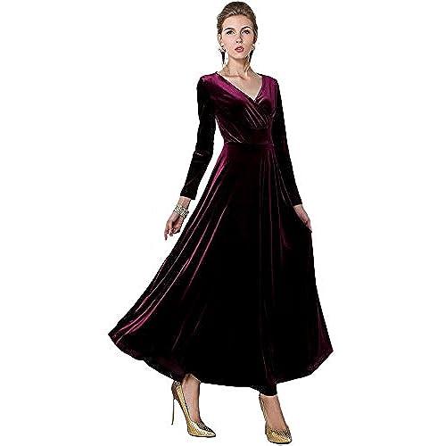 Urban CoCo Women Long Sleeve V-Neck Velvet Stretchy Long Dress (Medium, Mulberry)