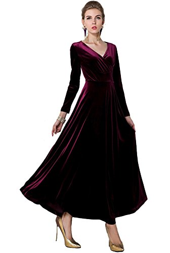 Urban CoCo Women Long Sleeve V-Neck Velvet Stretchy Long Dress (X-Large, Mulberry) -