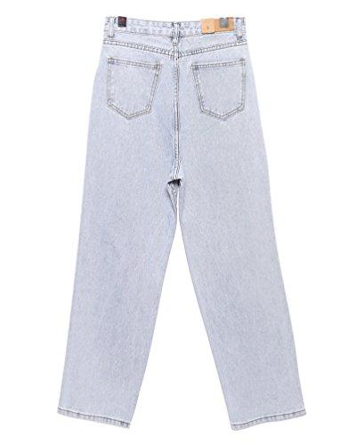 Jeans Lihaer Donna Trousers A Pants Blu Chiaro Retrò Donne Grande Elastici Alta Dimensione Moda Vita Da 55OBrw