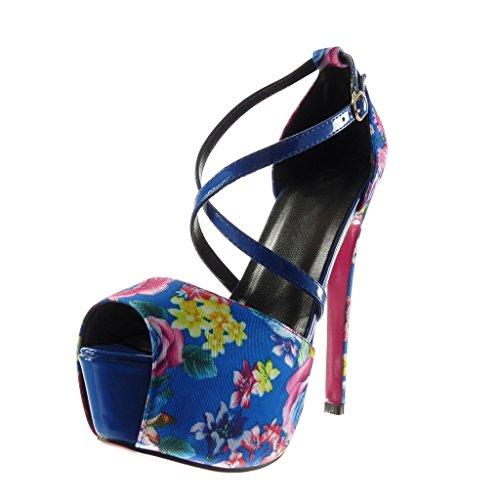 Angkorly - Scarpe da Moda scarpe decollete sandali stiletto zeppe sexy donna fiori tanga Tacco Stiletto tacco alto 15 CM - Blu