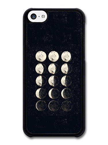 Moon Phases Illustration in Black and White Hand Drawn Style case for iPhone 5C