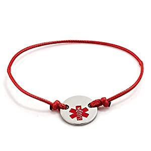 Moonlight Collections Thin Red Line Medical Alert ID Bracelet Leather Washer Token Charm
