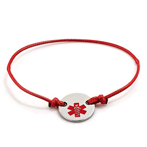 EV.YI Jewels Medical Alert ID Bracelet Allergy Emergency Titanium Tag with Red Leather Rope for Men Women mom dad